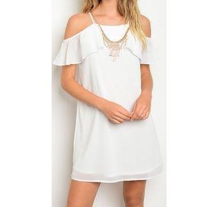 Dresses & Skirts - White Cold Shoulder Ruffle Shift Dress